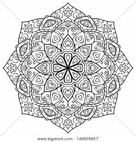 Vector contour mandala on a white background. Oriental ornament. Round element for design. Sketch for tattoo. Template for coloring book.