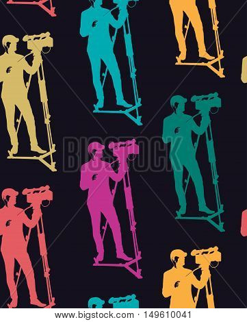 Seamless pattern of cameraman with video camera. Vector dark background with colored silhouettes. Videographer. Television.