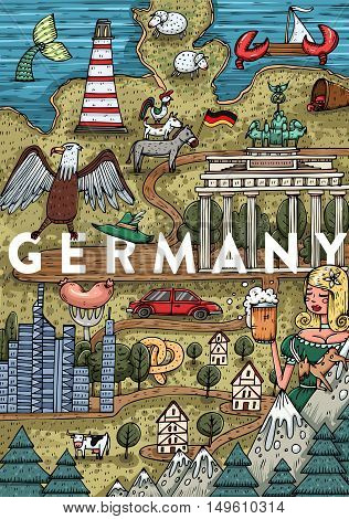 Funny Hand drawn Cartoon Germany map with most popular places of interest. Vector illustration