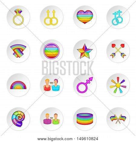 Homosexual icons set in cartoon style. Rainbow lgbt symbols set collection vector illustration