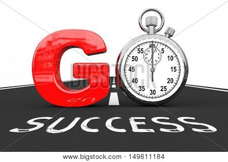 Road To Success Concept. Stopwatch as Go Sign over Success Road on a white background. 3d Rendering