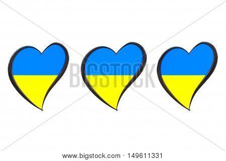 Ukraine Flag Inside Heart. Eurovision Song Contest 2017 in Ukraine on a white background. 3d Rendering