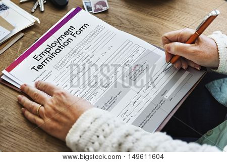 Employment Termination Form Document Concept