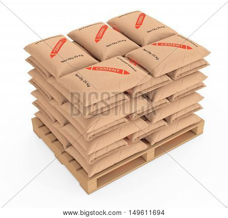 Stack of Paper Sacks Cement Bags over Wooden Pallet on a white background. 3d Rendering