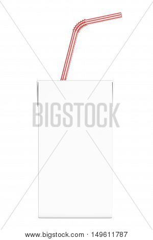 Blank Milk or Juice Carton Box with Red Striped Straw on a white background. 3d Rendering