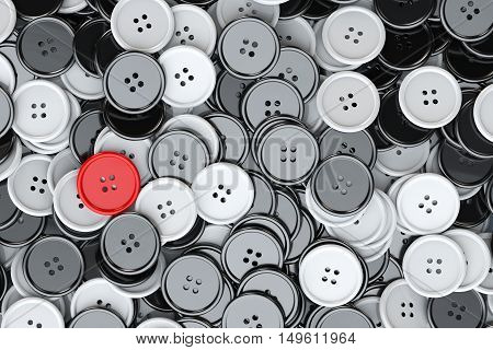 Sewing Buttons background. Black and White Sewing Buttons with One Red extreme closeup. 3d Rendering