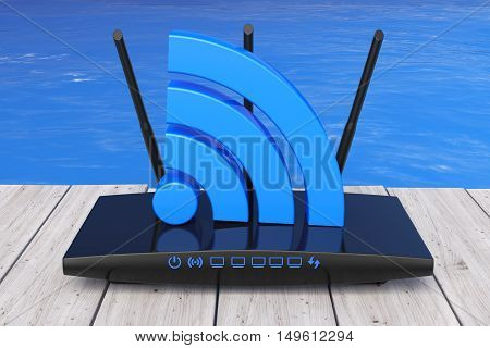 Wireless Wi-Fi Router in front of Ocean extreme closeup. 3d Rendering
