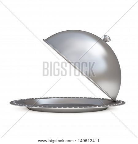 Silver Restaurant Cloche on a white background. 3d Rendering