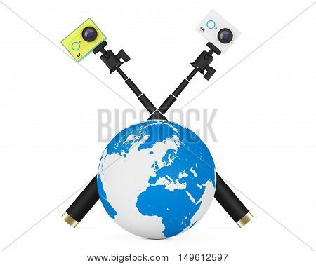 Small Ultra HD Action Cameras with Earth Globe on a white background. 3d Rendering