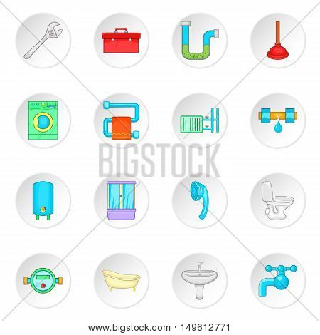 Bathroom icons set in cartoon style. Plumbing service set collection vector illustration