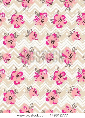 Seamless pattern with pink flowers on the zig zag background.Vector Floral background.