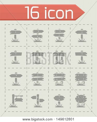 Vector Old wood sign icon set on grey background