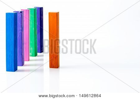 Bunch Of Standing Square Colorful Pastel Chalks, On White Background
