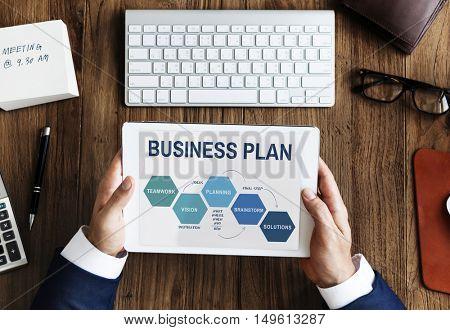 Business Plan Strategy Development Process Graphic Concept