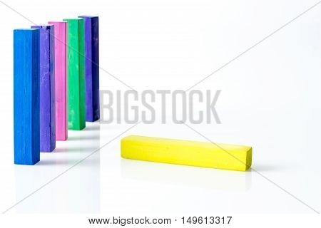 Bunch Of Standing Square Colorful Pastel Chalks With One Lying Down, On White Background