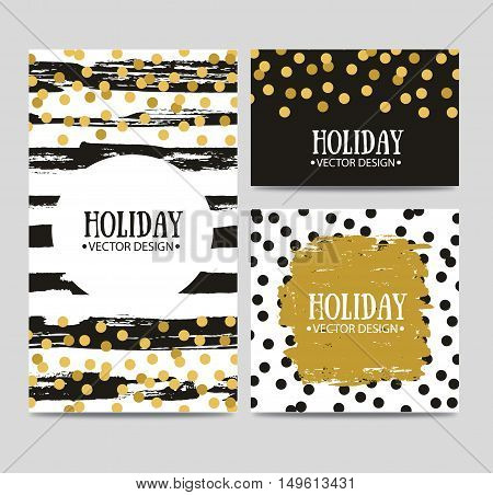 Vector set of beautiful hand drawn cards templates. Text message lettering gift. Congratulations best regards post card design.