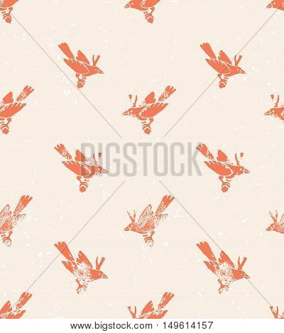 Vector seamless pattern. linocut style with birds. Vintage background.