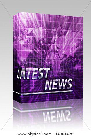 Caixa de pacote de software mais recentes quebrando a ilustração anúncio notícias newsflash splash screen