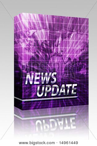 Software package box Latest breaking news newsflash splash screen announcement illustration