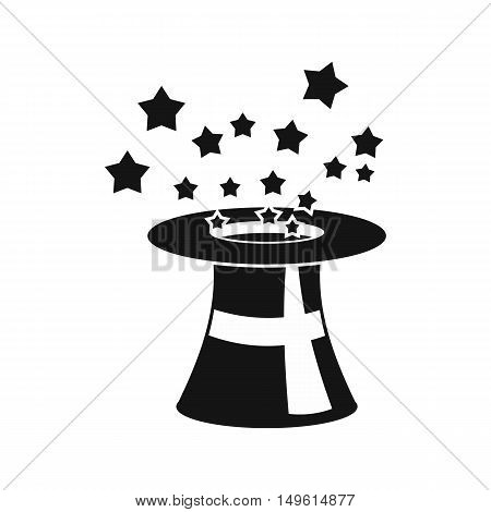 Magic hat with stars icon in simple style on a white background vector illustration