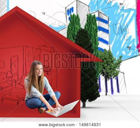 Portrait of happy female university student using laptop against view of house icon