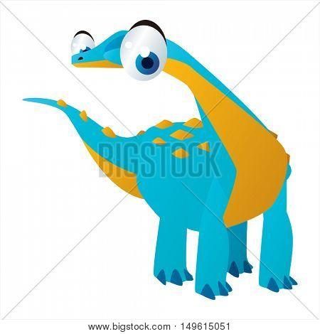 cute vector comic cartoon animal. Cool colorful dinosaur Brontosaurus