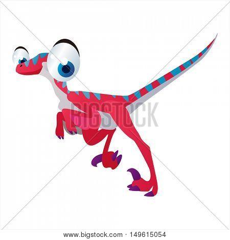 cute vector comic cartoon animal. Cool colorful dinosaur Velociraptor