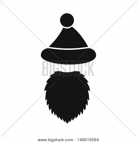 Santa Claus hat and beard icon in simple style on a white background vector illustration