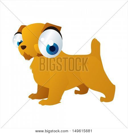 Vector cute cartoon isolated on white dog breeds image. Dogs. Norfolk terrier