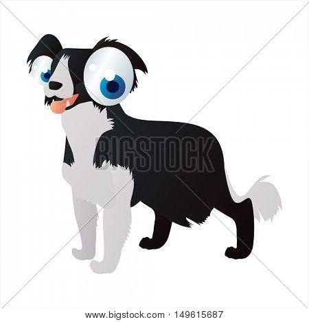 cute vector comic cartoon animal. Cool colorful Collie Dog
