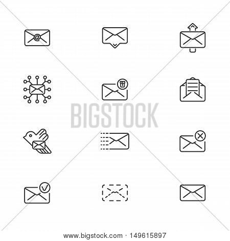 Set of line icons for messages. Vector illustration. eps 10
