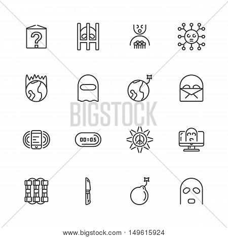 Anti-terrorism line icons. Vector illustration. eps 10