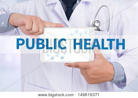 PUBLIC HEALTH Doctor holding digital tablet doctor work hard top view