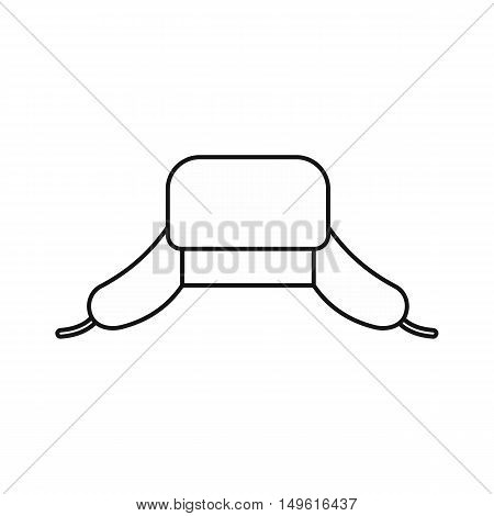 Hat with ear flaps icon in outline style on a white background vector illustration