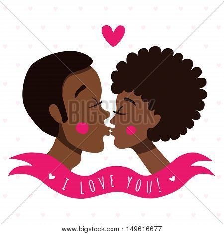 I love you greeting card and background with kissing couple(african americans) ribbon and heart