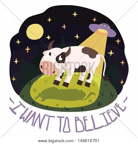 I want to believe vector poster illustration with cow on the hill and UFO in the night with full moon and stars (cartoon style)