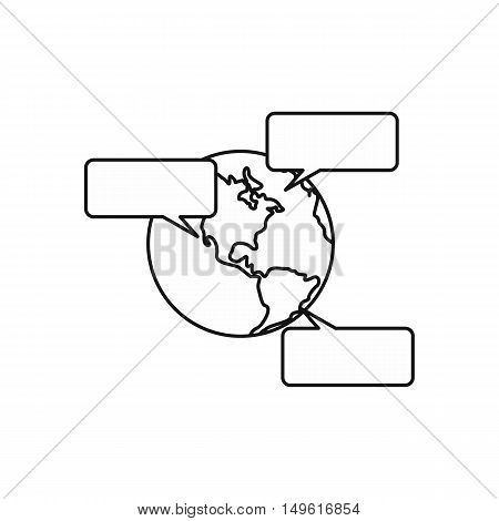 Globe and empty speech bubbles icon in outline style on a white background vector illustration