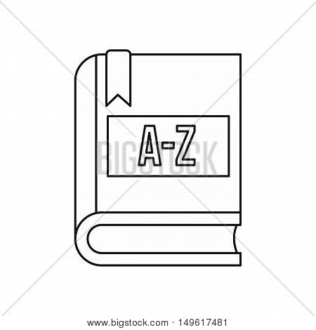 Dictionary book icon in outline style on a white background vector illustration