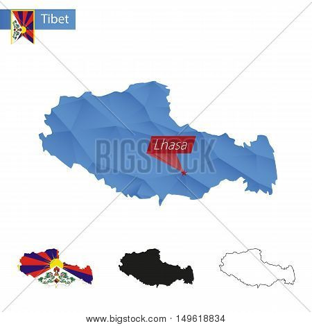 Tibet Blue Low Poly Map With Capital Lhasa.