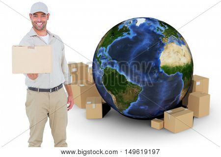 Delivery man giving package on white background against globe and cardboard boxes