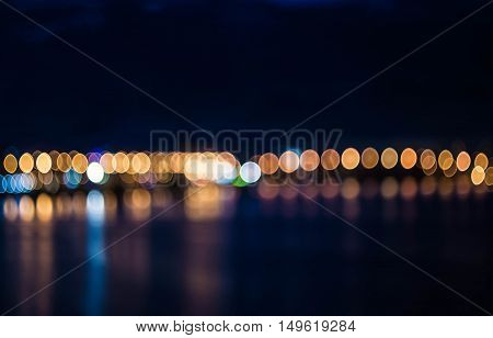Abstract line of blurred night city lights out of focus background