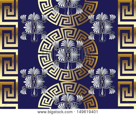 Modern vector seamless pattern background  illustration with vintage greek gold keys, flowers and ornaments on the dark blue background.Floral pattern.floral ornament.Keys ornament. Flowers