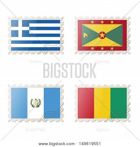 Postage Stamp With The Image Of Greece, Grenada, Guatemala, Guinea Flag.