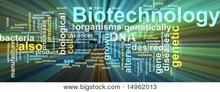 Word cloud concept illustration of  biotechnology research glowing light effect