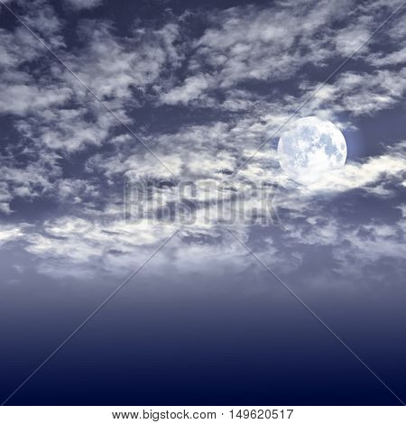 Glowing full moon and white clouds on the dark night sky background