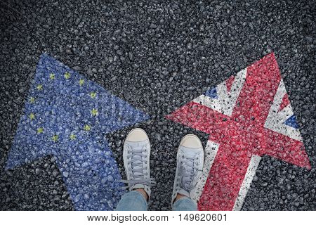 Woman wearing trainers against close-up of european flag