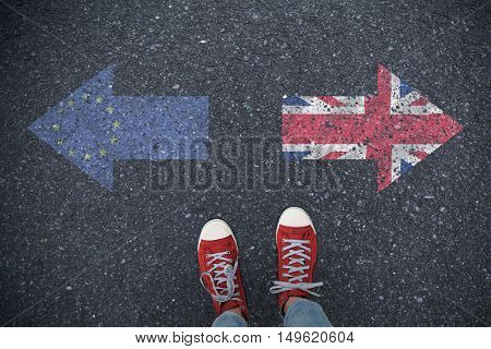 Casual shoes against close-up of european flag