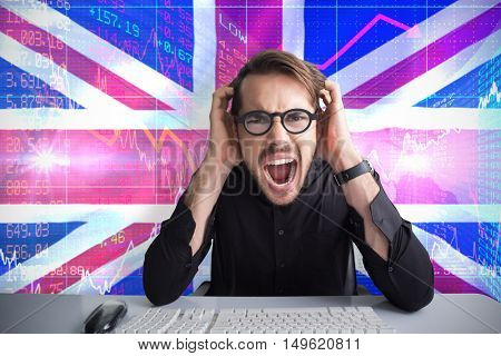 Businessman yelling with his hands on face against digitally generated uk national flag