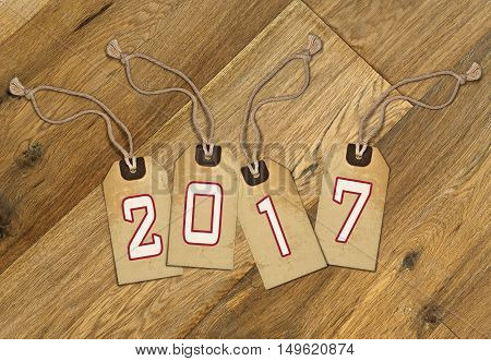 Textured Tag With 2017 Tied With Brown String