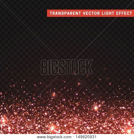Transparent vector light effect gold. Glitter particles, shining stars , space background. Bright design element, red luxury greeting card